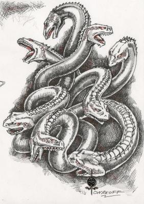 Гидра (Hidra). Иллюстрация Ивана Онякова к бестиарию Сапковского