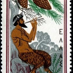 Греческое божество Пан на греческой марке