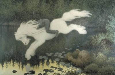 Мальчик на белой лошади (Gutt på hvit hest). Карандашный рисунок Теодора Киттельсена, между 1890 и 1909 годами