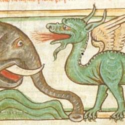 Битва слона и дракона (Рукопись Британской библиотеки MS Harley 3244, fol. 39v)