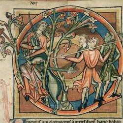 Охотники, убивающие единорога (Рукопись Британской библиотеки MS Harley 4751, fol. 6v)