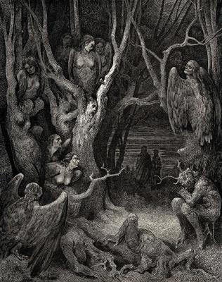 """Гарпии в лесу самоубийц в седьмом круге Ада. Гравюра Гюстава Доре к """"Божественной комедии"""" Данте"""