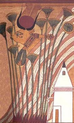 Богиня Хатор (или, возможно, Мехурт) в облике коровы. Папирус Ани (фрагмент)