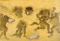 Демоны, дерущиеся за разорванную лошадь. Рукопись библиотеки дворца Топкапы в Стамбуле (Hazine 2153, fol. 40v.)