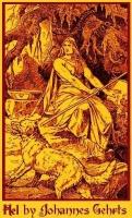 Изображение богини Хель с псом Гармом от Йоханнеса Гертса