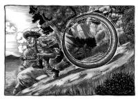 Обруч-змей преследует человека. Иллюстрация Ричарда Свенссона (Richard Svensson)