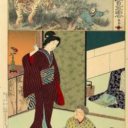 Мать наблюдает за игрой сына с микэнэко. Автор рисунка Ёсю Тиканобу