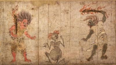 Дзикининки или гаки в окружении демонов-они. Рукопись периода Хэйан (Япония, между 794 и 1185 годами)