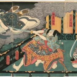 Кошка Набэсимы. Автор рисунка Тоёкуни III