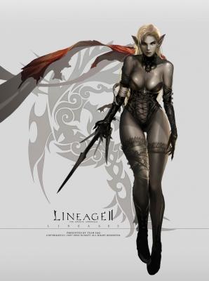 Темная эльфийка, иллюстрация (концепт-арт) к игре Lineage2