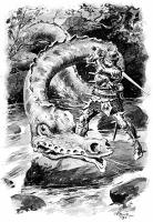 Лэмбтонский червь. Иллюстрация Чарльза Эдмунда Брока (1893)