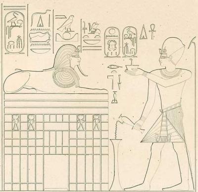 Бог Гор в виде человекоголового сфинкса и фараон Тутмос IV