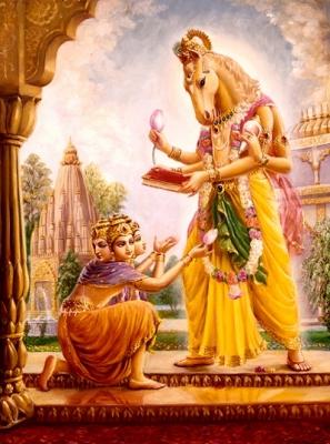 Лошадиноголовый Хайягрива. Иллюстрация из современной вайшнавской литературы