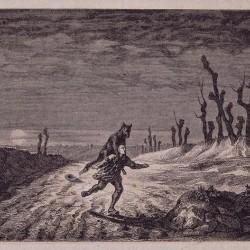 Вервольф. Гравюра Мориса Санда (Maurice Sand), 1857