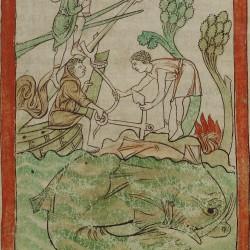 Кит (аспидохелон). Нортумберлендский бестиарий. Музей Гетти, Лос-Анджелес (MS. 100, fol.47r.)