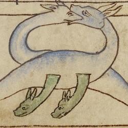 Гадюка (vipera). Нортумберлендский бестиарий. Музей Гетти, Лос-Анджелес (MS. 100, fol.54r.)
