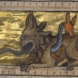 Крокодил и гидрус. Рукопись музея Гетти в Лос-Анджелесе (MS. Ludwig XV 3, fol.84v.)
