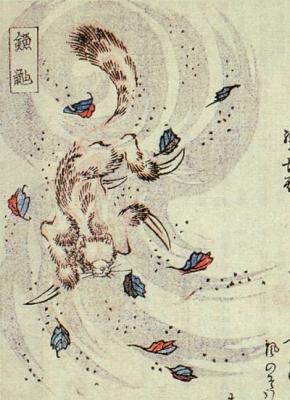 "Кама-итати. Иллюстрация из ""Хёка хяку-моногатари"" (1853)"
