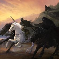 Назгулы гонятся за Фродо. Иллюстрация Юлии Алексеевой