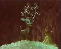 """Серебряное копытце с увеличившимися рожками и Мурёнка. Кадр из мультфильма """"Подарёнка"""" (1978)"""