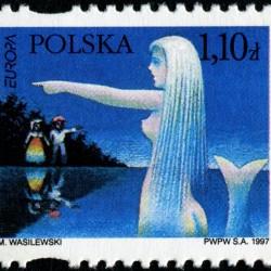 Польская русалка-сиренка на польской марке