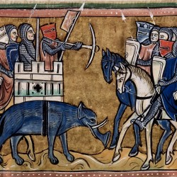 Слон с осадной башней на спине. Рочестерский бестиарий (Royal 12 F XIII, fol. 11v.)