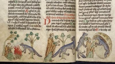Священник и волки-оборотни. Рукопись Британской библиотеки (Royal MS 13 B VIII, fol.17v.-18r.)