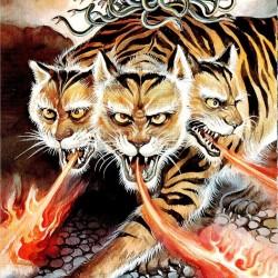 Кербер, необычно окошаченный на иллюстрации Исихары Годзина
