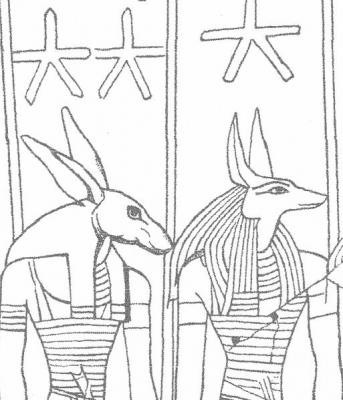 Боги Сет и Анубис на потолке гробницы Сети I