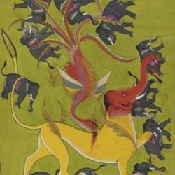 Нападение симурга. Индийская миниатюра XIX века