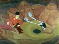 """Синюшка тянет руки к Илье. Кадр из мультфильма """"Синюшкин колодец"""" (1973)"""