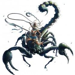 """Гигантский скорпион и его наездница. Иллюстрация к игре """"Arena Rex"""""""
