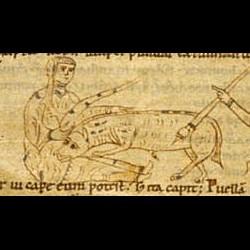 Единорог, дева и охотник. Рукопись Британской библиотеки (MS Stowe 1076, fol. 2r.)