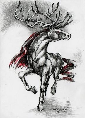 Гиппоцерв (Hippocervus). Иллюстрация Ивана Онякова к бестиарию Сапковского