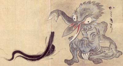 """Камикири. Рисунок Саваки Сууси, """"Иллюстрированный свиток сотни демонов"""" 1737 года"""