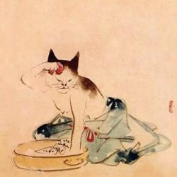 Умывающаяся микэнэко. Автор рисунка Утагава Хиросигэ