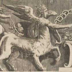 Гравюра, изображающая фриз с крылатым леонтокентавром у алтаря