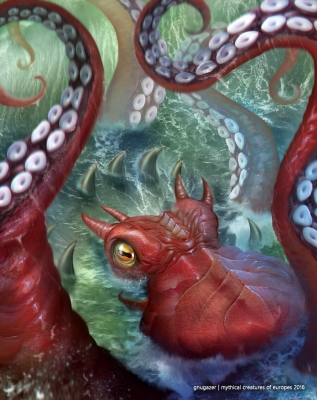 Кракен. Иллюстрация Агунга Вуландана
