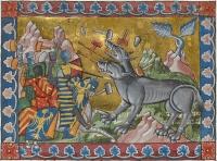 """Александр Великий сражается с двухголовым чудовищем. Иллюстрация из """"Древней истории до Цезаря"""" (Add. MS 15268, f.210v)"""