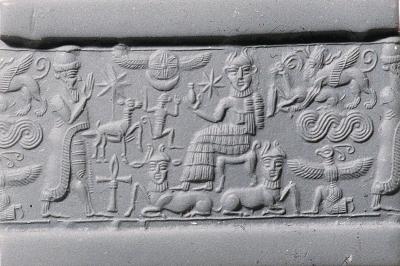 Цилиндрическая печать из Сирии, около 1820-1730 годов до н.э.