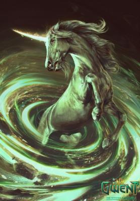 """Единорог. Иллюстрация Анны Подедворной к ККИ """"Gwent: The Witcher Card Game"""""""