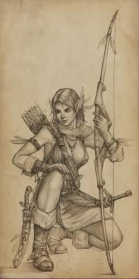 Эльфийская лучница. Иллюстрация Вадима Молотова (slipgatecentral)