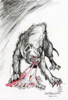 Гиена (Hyena). Иллюстрация Ивана Онякова к бестиарию Сапковского