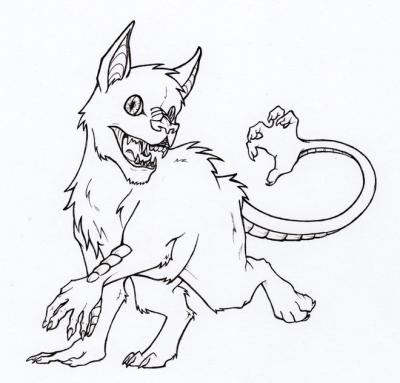"""Ауисотль. Иллюстрация Фионы Эванс для книги """"Compendium of North American Cryptids & Magical Creatures"""""""