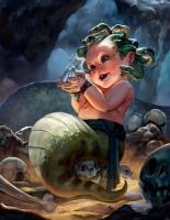 """Маленькая Медуза. Иллюстрация Вики Панжесту из серии """"Baby Bestiary"""""""