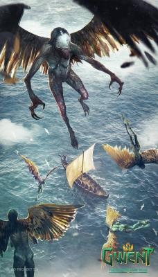 """Гарпии. Иллюстрация Бартоломея Гавела к ККИ """"Gwent: The Witcher Card Game"""""""