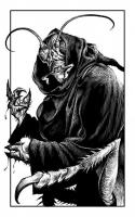 """Таракан-монах. Иллюстрация Мартина МакКены к книге """"Вой оборотня"""" из серии """"Fighting Fantasy"""""""