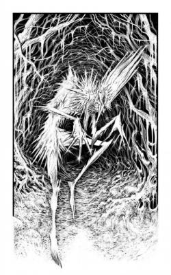 """Морозный Дух. Иллюстрация Мартина МакКены к книге """"Вой оборотня"""" из серии """"Fighting Fantasy"""""""
