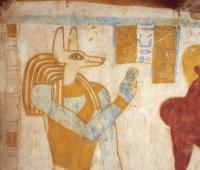 Белоголовый бог-волк Упуаут. Фрагмент росписи гробницы Па Нентви (Pa Nentwy)