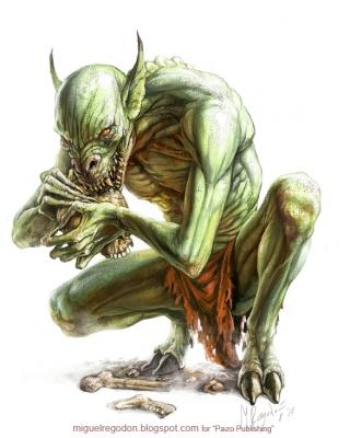 Blasphemous Ghoul. Иллюстрация Мигеля Регодона Харкнесса (Miguel Regodón Harkness) к сеттингу Pathfinder